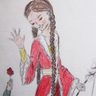 Détail, petit paysan offrant une rose...
