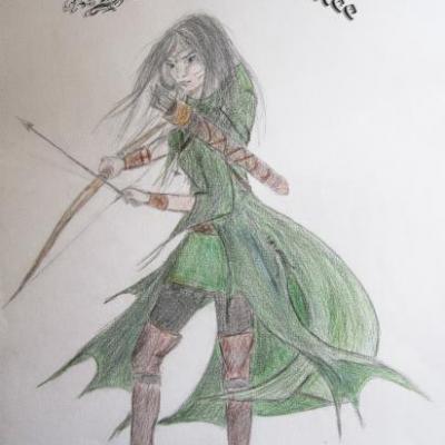 Guerrière tenant un arc