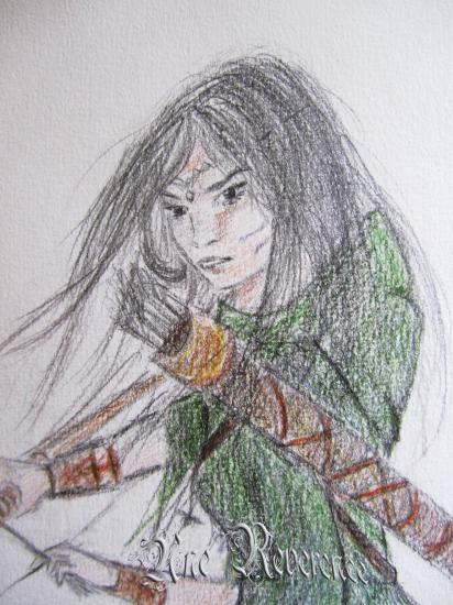 Détail, guerrière tenant un arc