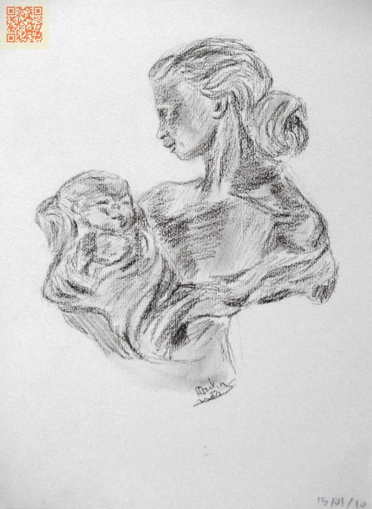 Buste en étain: femme portant un bébé
