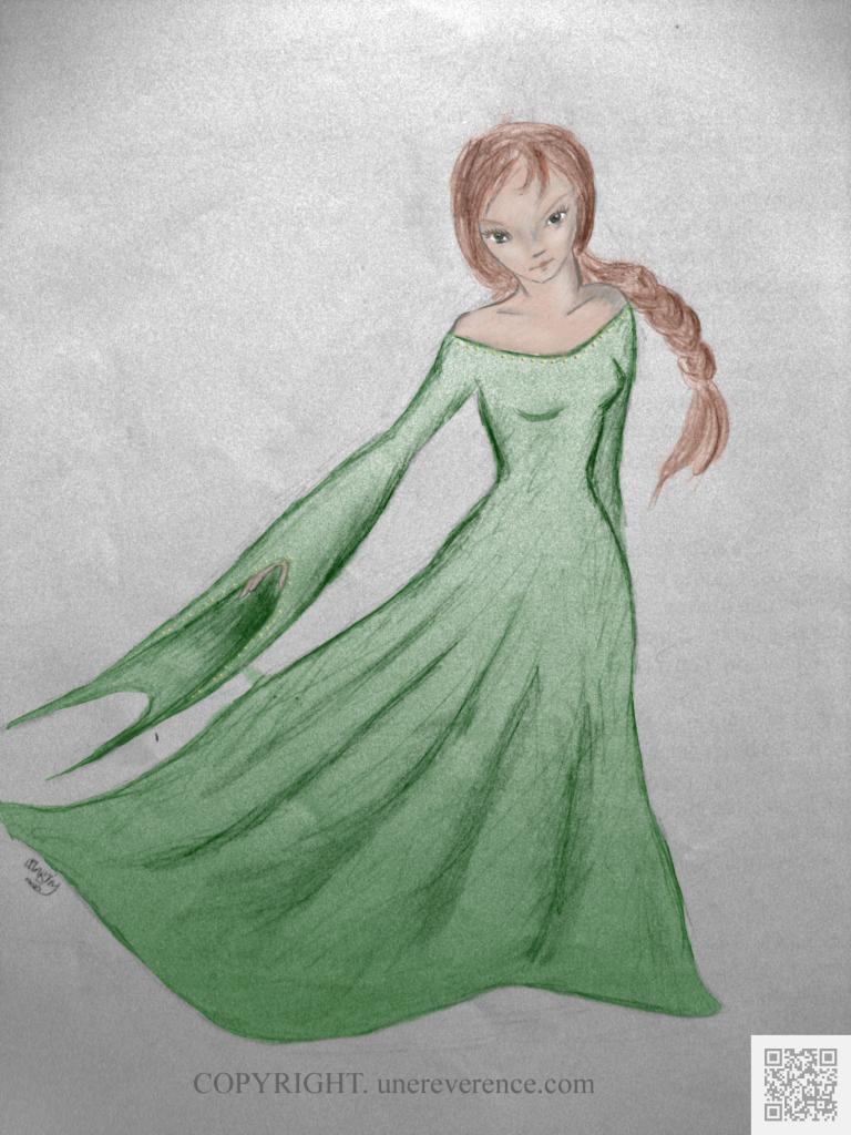 Jeune fille à la robe verte