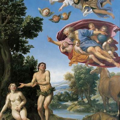 Le Dominiquin, Dieu réprimant Adam et Eve, vers 1623-25, huile sur cuivre, 95 x 65 cm, musée de Grenoble