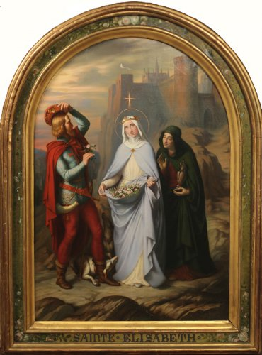 Claudius Lavergne, Le Miracle des roses, 1845, huile sur toile, 174 x 108 cm, Lyon, musée des Beaux-Arts