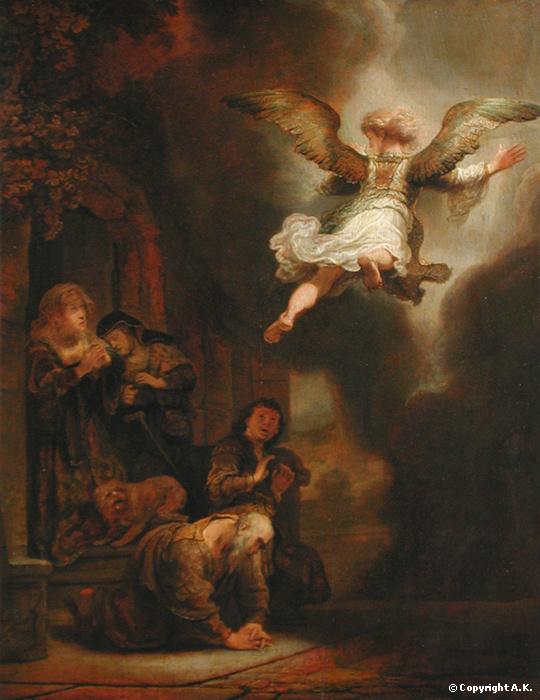 Rembrandt, L'archange Raphël quittant la famille de Tobie, 1637, huile sur bois, 66 x 52 cm, Louvre