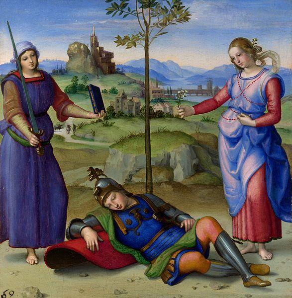 Raphael, Le Songe du Chevalier, vers 1504, hule sur bois,17 x 17 cm, Londres, National Gallery